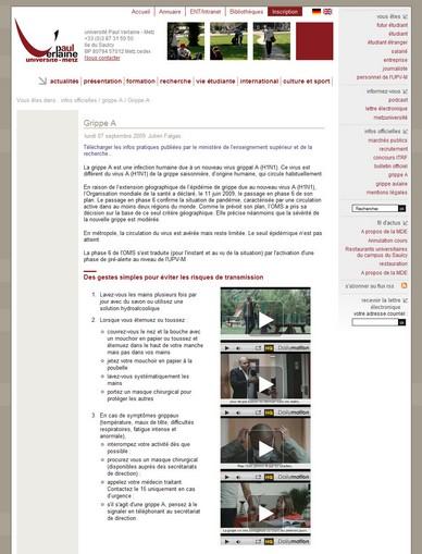 Grippe A - grippe A - infos officielles - Université Paul Verlaine - Metz